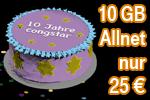Geburtstagsaktion 10 Jahre congstar - Allnet Flat mit bis zu 10 GB