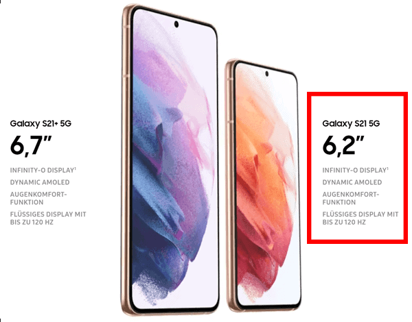 Display vom Samsung Galaxy S21 5G
