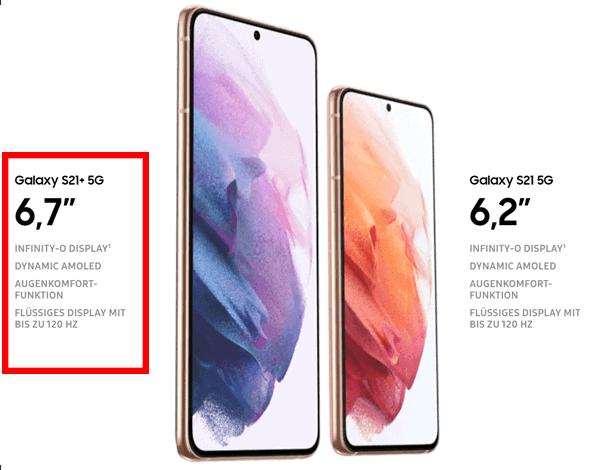 Display vom Samsung Galaxy S21+ 5G
